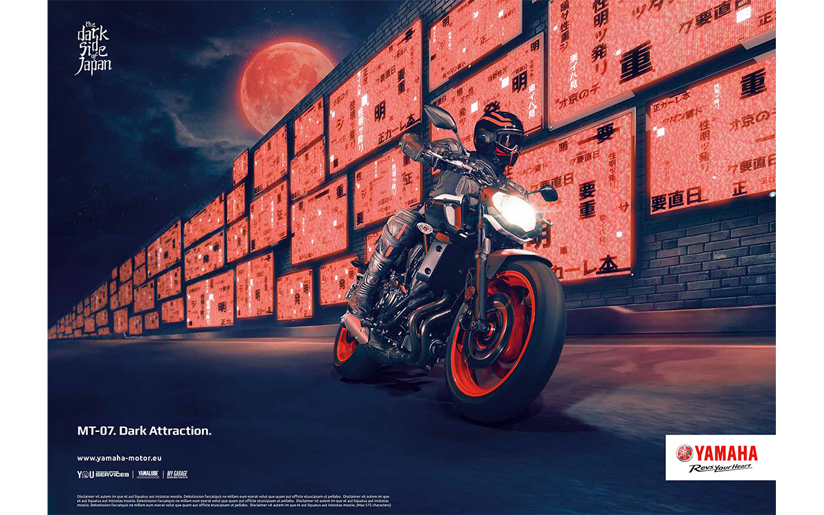 TANDEM_Communication_Partner_PRESTAMPA_e_RITOCCO_IMMAGINI_yamaha_mt07_darkside_japan_advertising